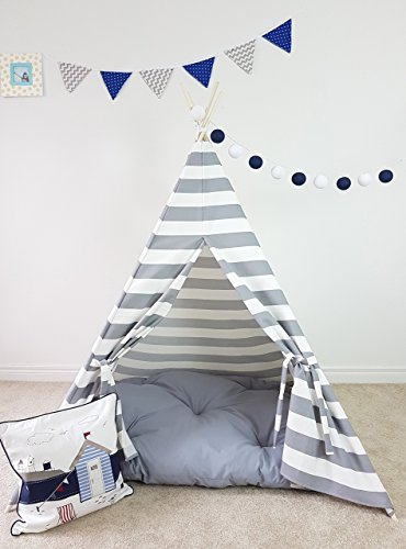 (Kids Teepee Grey and White Nautical Stripes Tipi with Poles Boys Large Playhouse Play Photo prop Indoor Tent Small Canvas Teepee)