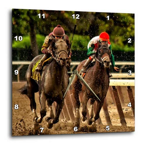 Horse Racing Photo (3dRose DPP_98373_3 Two Horses and Jockeys Racing to Finish Line, Mud Flying.-Wall Clock, 15 by)