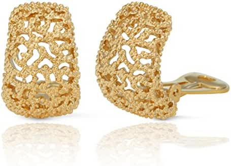 JanKuo Jewelry Gold Plated Vintage Style Semi Hoop Clip On Earrings
