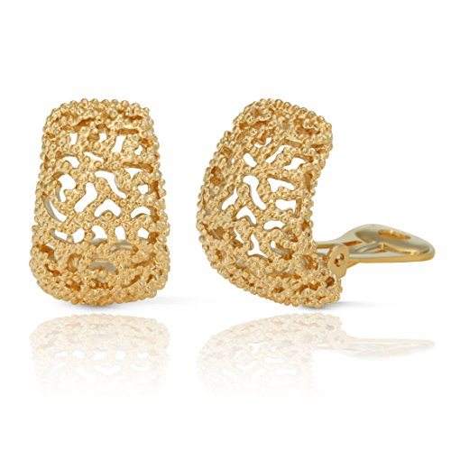 (JanKuo Jewelry Gold Plated Vintage Style Semi Hoop Clip On Earrings)