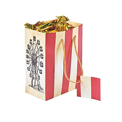 (Fun Express Vintage Circus Gift Bags with Tags | 12 Count | Great for Festival or Carnival Themed Party, Birthday Celebration, Christmas Party, Halloween Costume Party, Corporate)