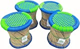 Ecowoodies Paradigm Handicraft Cane / Wooden Breakfast Kitchen Pub High Chair Garage Game Room Home Kitchen Counter Indoor/Outdoor Balcony Terrace Garden Lawn Cafeteria Restaurant Bar Stool Chair (Green/Blue Color- 4 Pcs)