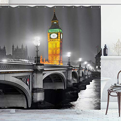 lovedomi London Shower Curtain Big Ben and Westminster Bridge at Night in The UK Street River European Style 71x71inch Washing Waterproof Fabric Including 12 Plastic Hooks (Best Cat Repellent Uk)