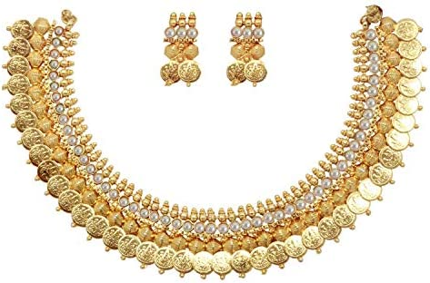 Sanara Indian Bollywood Jewelry Ethnic Gold Plated Traditional South Indian Coin Temple Choker Necklace Earring Set Women Bridal Choker Jewelry Multi Stone Jewelry