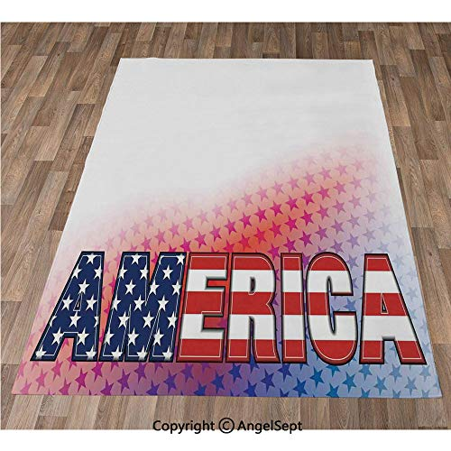 Non-Slip Super Soft Rugs Cozy Kids Bedroom Living Room Carpet 32x48in,USA Flag on America Stars Background Illustration Freedom Independence Liberty,Red Blue White Indoor/Outdoor Area Runners & Stair ()