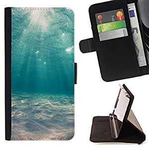For HTC One Mini 2 M8 MINI Case , Mar del trullo Buceo Sun Ray Tormentas- la tarjeta de Crédito Slots PU Funda de cuero Monedero caso cubierta de piel