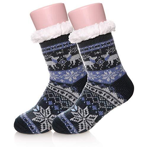 Kids Boys Girls Fuzzy Slipper Socks Soft Warm Thick Fleece lined Christmas Stockings For Child Toddler Winter Home Socks(Dark Blue,8-12 Years)