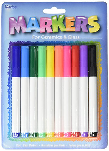 Darice Ceramic and Glass Markers (10pc) – Great for Crafts, Parties and Art Projects – Color and Write on Glass and Ceramics – Assorted Bright Rainbow Colors – Medium Tip, -