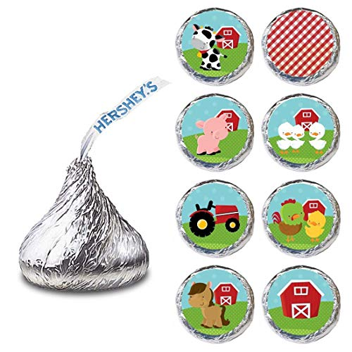 Farm Animals Label for HERSHEY'S KISSES® chocolates - Birthday Baby Shower Stickers - Set of 240