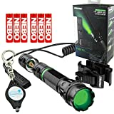 Nebo 6113 iProtec LG170 Tactical Green LED Flashlight with Universal Mount & Dual Mode Pressure Switch, Includes 3x EXTRA Energizer AAA Batteries and LightJunction Keychain Light