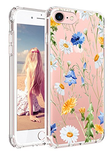iPhone 7 Case, iPhone 7 Hard Case, Imikoko™ Slim for Women Girls Cute Floral Flower Pattern Crystal Clear Protective Case Hard PC Back Case with Soft TPU Gel Bumper for iPhone 7/8 4.7