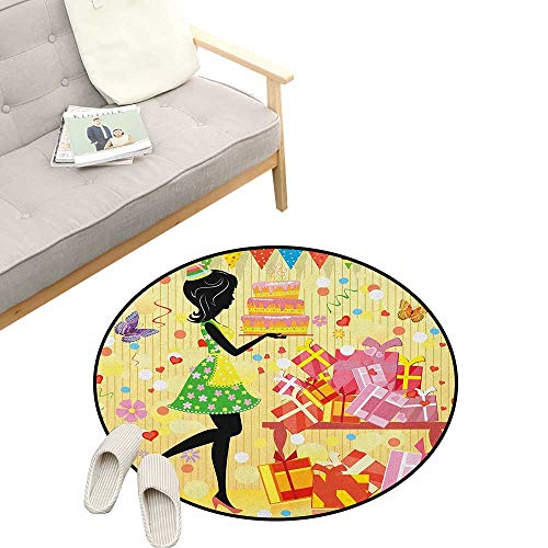 Birthday Round Area Rug Super Soft Anti-Slip ,Beautiful Young Woman and Birthday Cake Table Full of Presents Butterfly Figure, Children Girls Room Decorato 23