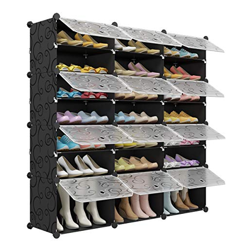 Eight Shelf Storage Tower - KOUSI Portable Shoe Rack Organizer 48 Pair Tower Shelf Storage Cabinet Stand Expandable for Heels, Boots, Slippers, 8 Tier Black