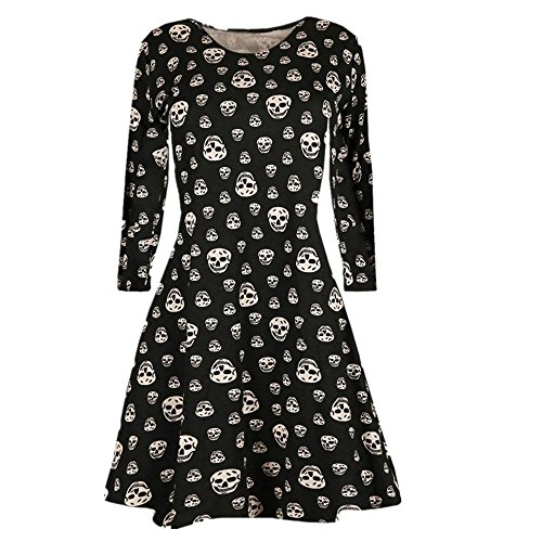 Women Halloween Skull Print Long Sleeve O-neck Casual A-line Shirt Dress (XL, Gray)