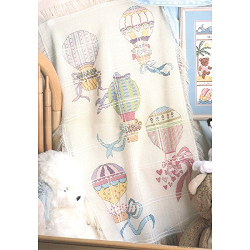 M C G Textiles 18 Count Hot Air Balloons Baby Afghan Counted Cross Stitch Kit, 29 by 45-Inch