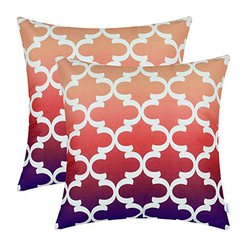 CaliTime Pack of 2 Canvas Throw Pillow Covers Cases for Couch Sofa Home Decor Modern Gradient Quatrefoil Accent Geometric 18 X 18 Inches Orange to Purple ()
