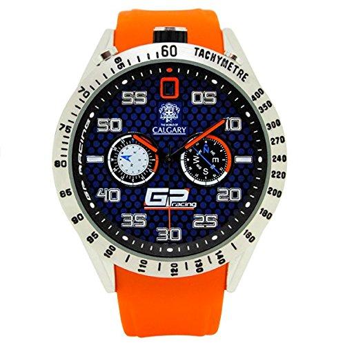 Relojes Calgary GP Racing 2014. Reloj deportivo para hombre, correa de caucho naranja,
