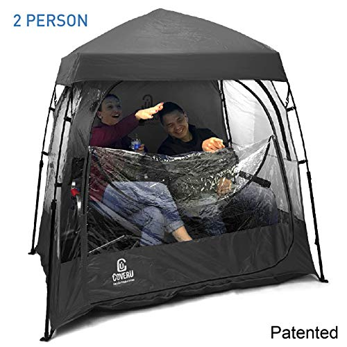 EasyGoProducts CoverU Sports Shelter -Weather Tent Pod - Patented (2 People-Black) (Best Pop Up Tent For Rain)
