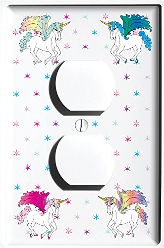Unicorn Horse Light Switch Plate and Outlet Covers/Unicorn Pony Children's Room Decor (Single Rocker) Presto Chango Decor Inc.