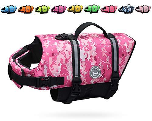 VIVAGLORY Ripstop Dog Life Jacket, Reflective & Adjustable Life Preserver with Enhanced Buoyancy & Rescue Handle, Camo Pink, Large