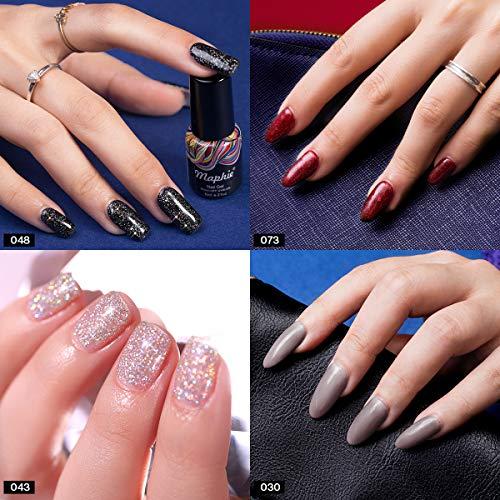 Maphie Glitter Gel Nail Polish Sets Popular Red Silver Black