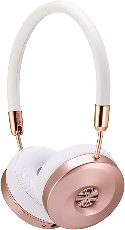Amazon Com Liboer Wireless Bluetooth Headphones With Mic Foldable On Ear Headset With Carrying Case For Iphone 7 Samsung Cellphones Bt89 White Rose