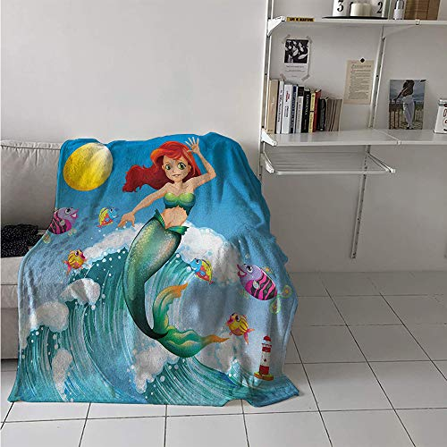 Throw Blanket Extra Large, Illustration of Cute Little Mermaid on top of a Big Wave in The Surf with Fish Kids, Weave Pattern Extra Long Blanket 90x70 Inch Multicolor (Pottery Barn Kids Surf Bedding)