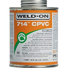 Weld-On 10134 714 CPVC Heavy-Bodied High Strength Solvent Cement - Medium-Setting and Low-VOC, Gray, 1 Pint (16 fl oz)
