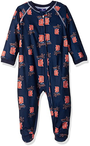 MLB Infant Tigers Sleepwear All Over Print Zip Up Coverall, 12 Months, Athletic Navy
