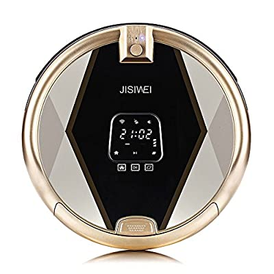 JISIWEI S+ Robotic Vacuum Cleaner Self Charging Floor Cleaner with Water Tank and Mop Cleaning for Hardwood, Linoleum, Tile, Laminate Floors (Golden)