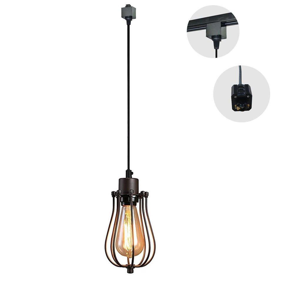 KIVEN 1-Light H-Type 3 Wire Track Light Pendants Length 3.3 Feet Restaurant Chandelier Decorative Chandelier Instant Pendant Light Industrial Factory Pendant Lamp, Bulb Not Include by Kiven