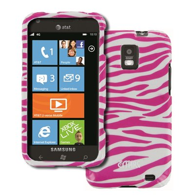 EMPIRE Samsung Focus S I937 Design Case Tasche Hülle Cover (Pink Rosa and Weiß Zebra Stripes) + Auto Dashboard Berg