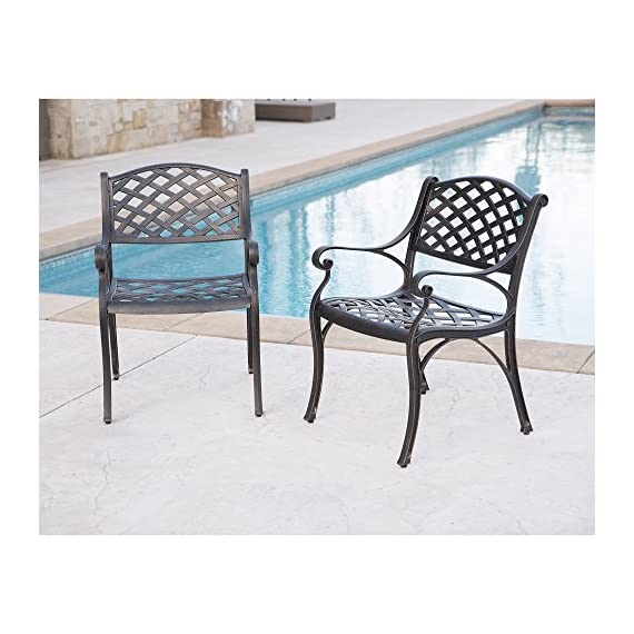WE Furniture Cast Aluminum Patio Chairs (Set of 2), Antique Bronze - Powder-coated cast aluminum Elegant, antique bronze finish Beautiful wicker style design - patio-furniture, patio-chairs, patio - 518oG3%2BIWQL. SS570  -