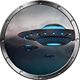 "12"" Porthole Instant Space Ship Window View ALIEN UFO's #2 SILVER Wall Sticker Kids Decal Room Home Art Décor Graphic SMALL"