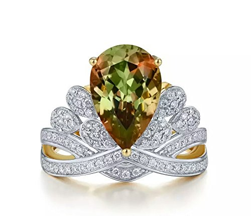 Zultanite gem ring alexandrite changing colors gem fine jewelry 925 sterling silver micro paved speccially designed classic pear stone shape fancy diamond style engagement ring (Rhodium, 8) by Tingle (Image #7)