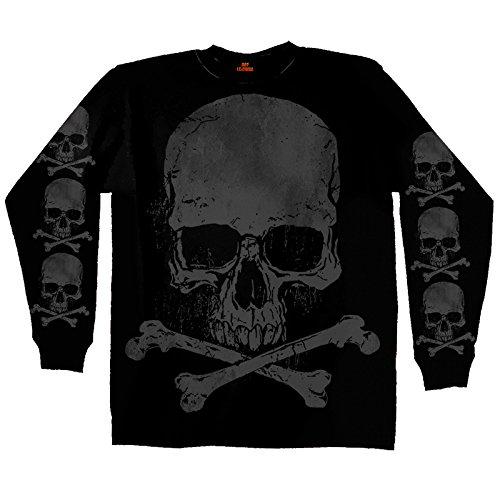 Hot Leathers Men's Jumbo Print Skull and Cross Bones Long Sleeve Shirt (Black, X-Large)