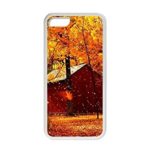 Personalized Creative Cell Phone Case For iPhone 5C,glam autumn fallen leaves yellow trees