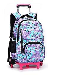 Meetbelify Kids Rolling Backpacks Luggage Six Wheels Unisex Trolley School Bags Purple