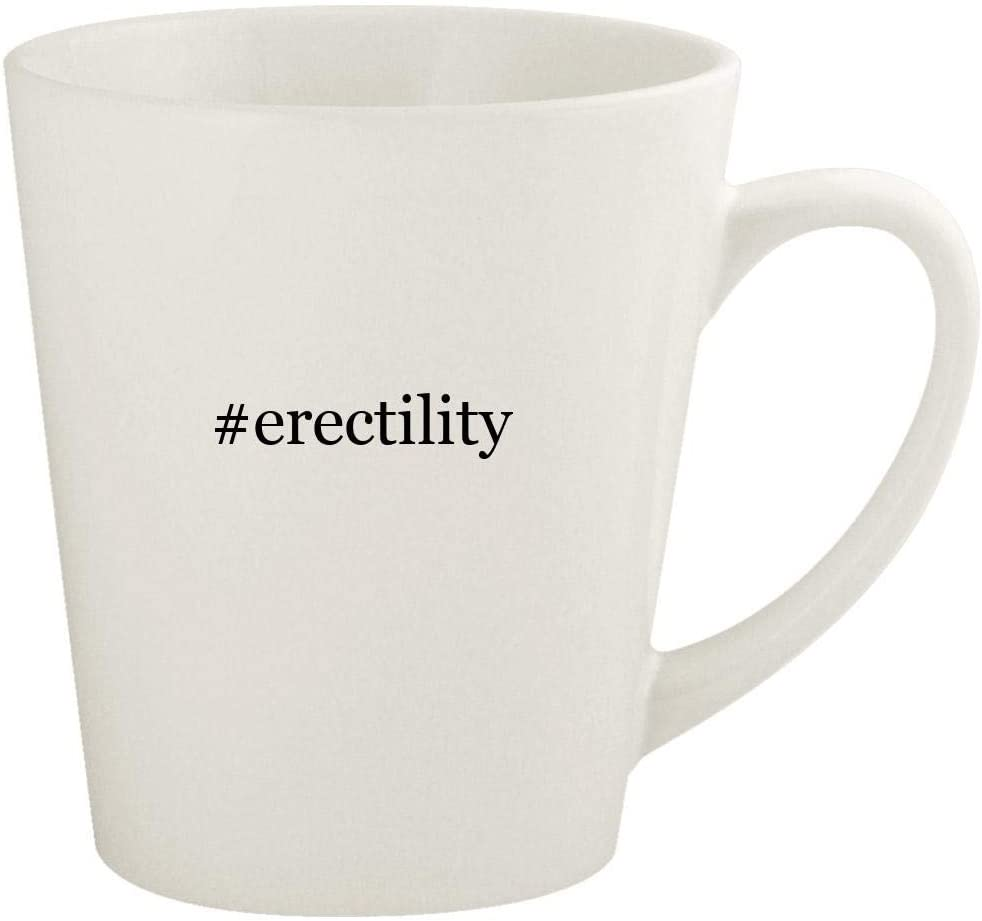 #erectility - 12oz Hashtag Ceramic Latte Coffee Mug Cup, White