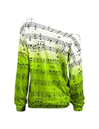 Dezzal Women's Skew Collar Drop Shoulder Long Sleeve Music Note Print Sweatshirt