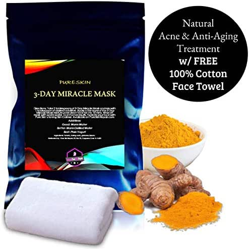 Natural Turmeric Antiaging Acne Face Mask Treatment by PURE SKIN | Healthy and Youthful Skin in Just 3 Days, 4oz