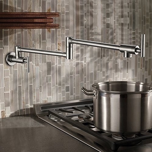 Sprinkle PHASAT Wall Mounted Brass Kitchen Faucet Pot Filler Double Joint Spout Brushed Nickel Faucet (Mounted Faucet Wall Filler Pot)