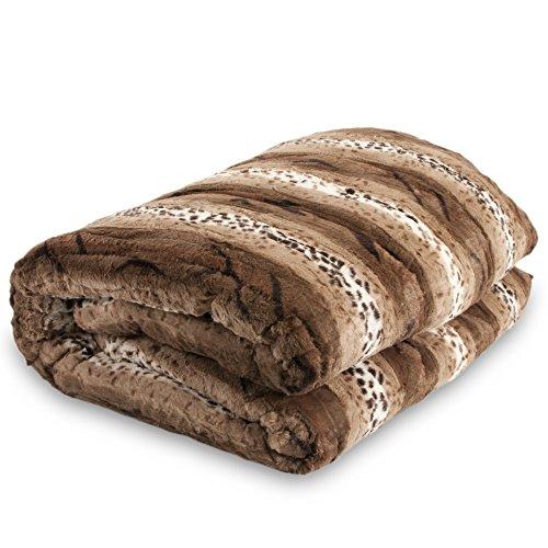 Bellahome Safari Faux Fur Plush Throw Blanket Comforter, (74'' X 86'' Queen) AQ601 by Bella
