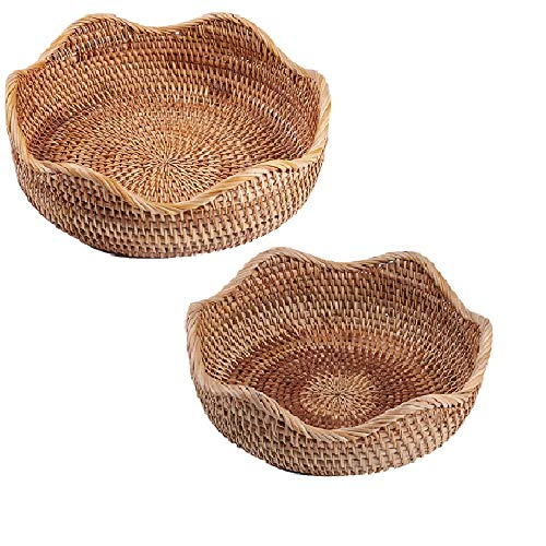 (amololo Handmade Rattan Round Fruit Basket Food Storage Bowls Kitchen Organizer Snack Serving Bowl (2-Size Kit))