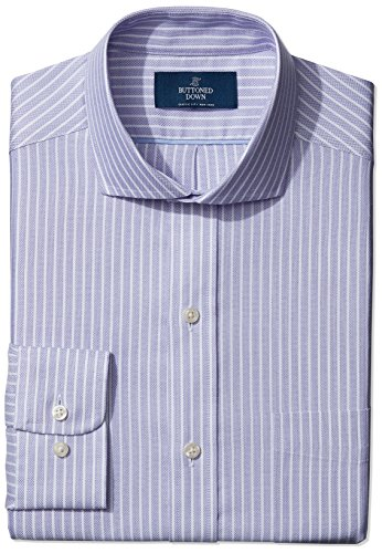 Buttoned Down Men's Classic Fit Cutaway Textured Stripe Non-Iron Dress Shirt, Purple, 16.5 (Textured Classic Shirt)