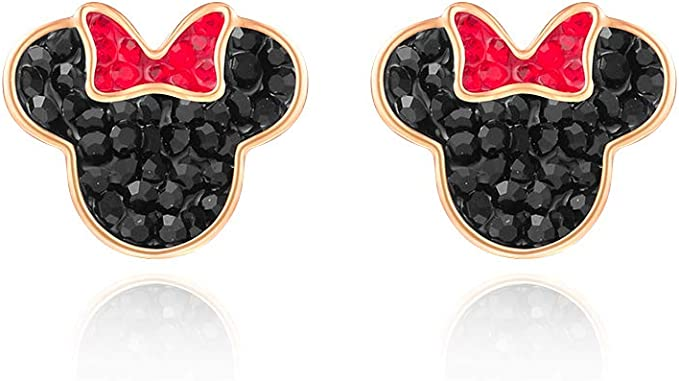 Silver Plated Hypoallergenic Necklace Stud Earrings Set Mouse Shape Jewelry Set with Cubic Zirconia for Women Birthday Valentines Day Gifts(Free Jewelry Box)