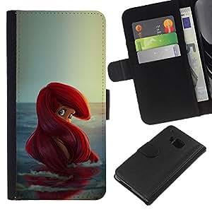 Modelo del Redhead Océano Niños- la tarjeta de Crédito Slots PU Funda de cuero Monedero caso cubierta de piel Para HTC One M9
