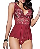 Kissria Women Sexy Lingerie Lace See-through Babydoll Open Crotch Pant Dress