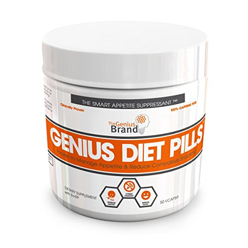 GENIUS DIET PILLS - The Smart Appetite Suppressant for Safe Weight Loss, Natural 5-HTP & Saffron Supplement Proven For Women & Men - Cortisol Manager + Mood, Stress and Thyroid Support, 50 Veggie Caps