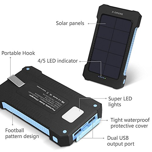 Solar ChargersX DNENG 10000mAh lightweight Solar energy Bank enhanced Efficiency Sunpower Cellphone Chargers Rain reluctant Dirt Shockproof Backup as a result of two USB Port Solar Battery Charger for USB instruments Solar Chargers
